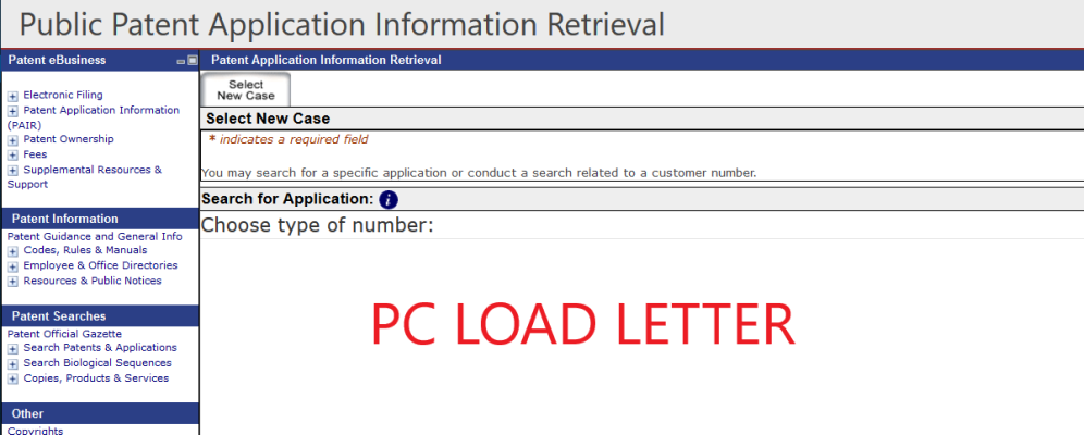 screen shot of USPTO PAIR system t PC Load Letter error message